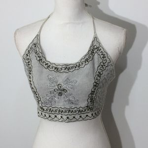 Super Cute Little Embroidered Halter top